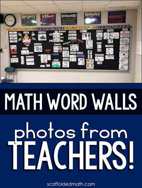 Classroom math word wall photos shared by Teachers! This post is filled with classroom math vocabulary wall photos shared by Teachers!  Making math word walls brings me so much joy, and seeing them in your classrooms is just so incredible. Thank you so so so much for sending these wonderful photos to me.