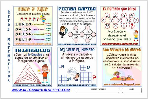 La palabra oculta, Descubre la Palabra, Picas y Fijas, Descubre el número, Número de Triángulos, ¿Cuántos triángulos hay?,  Piensa rápido, Acertijos, Acertijo de los relojes de arena, Retos matemáticos, Desafíos matemáticos, Problemas matemáticos, Solo para genios