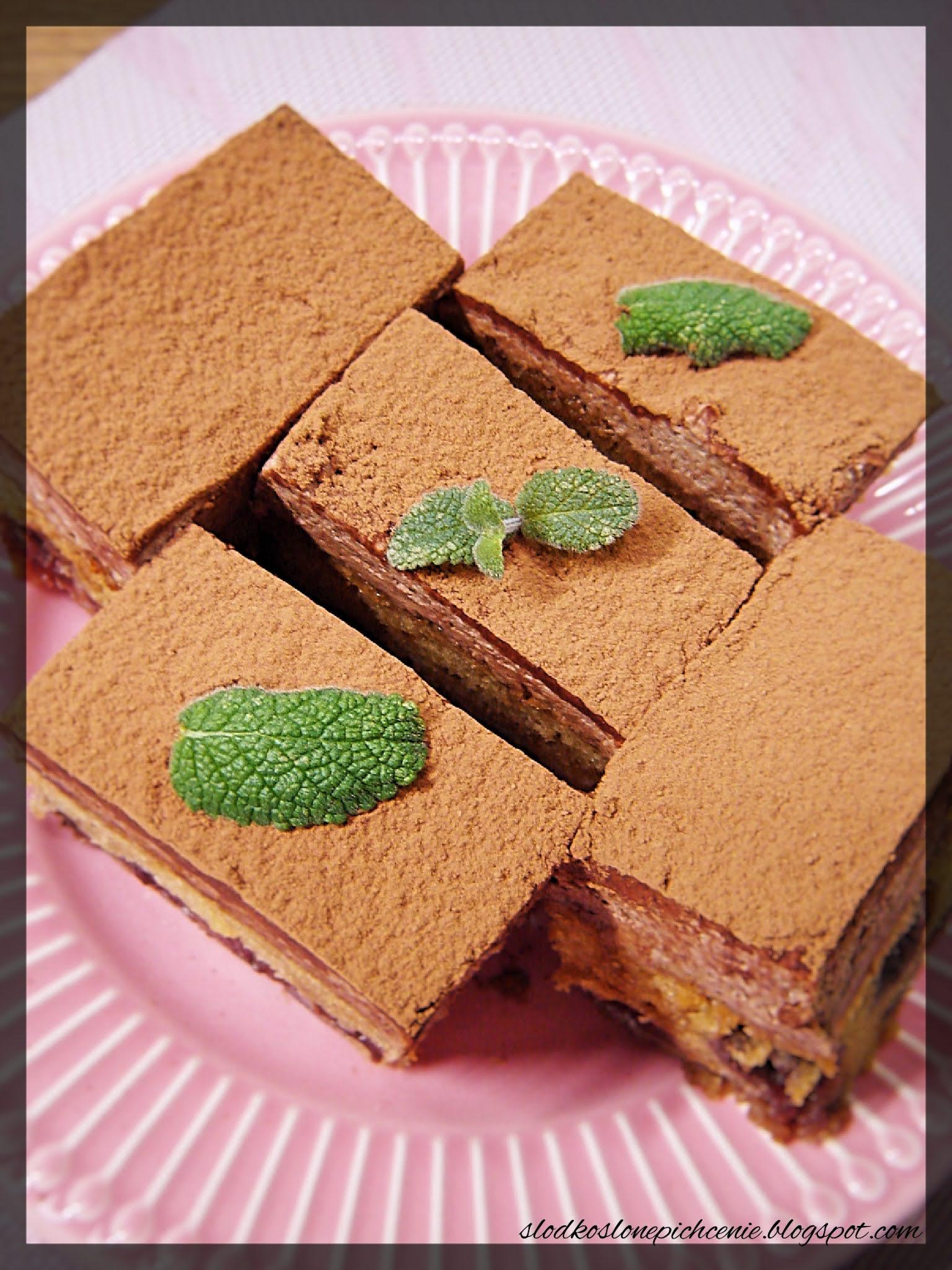 Ciasto z wiśniami z musem czekoladowym