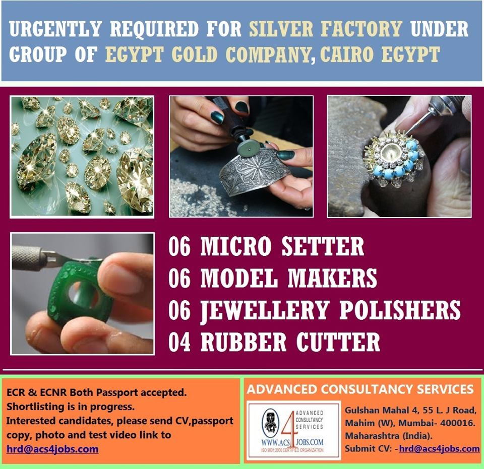 Urgently required for Silver Factory Cairo