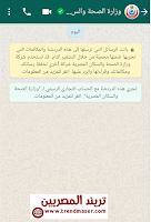 محادثة مع وزارة الصحة بالواتساب