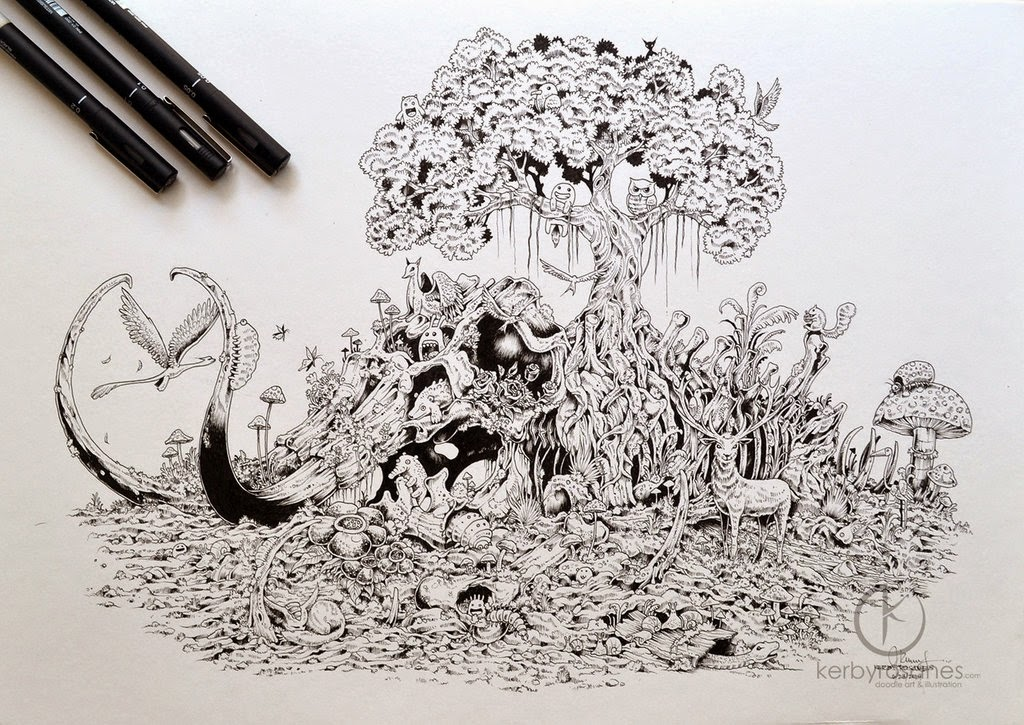 23-Mammoth-Paradise-Kerby-Rosanes-Detailed-Moleskine-Doodles-Illustrations-and-Drawings-www-designstack-co