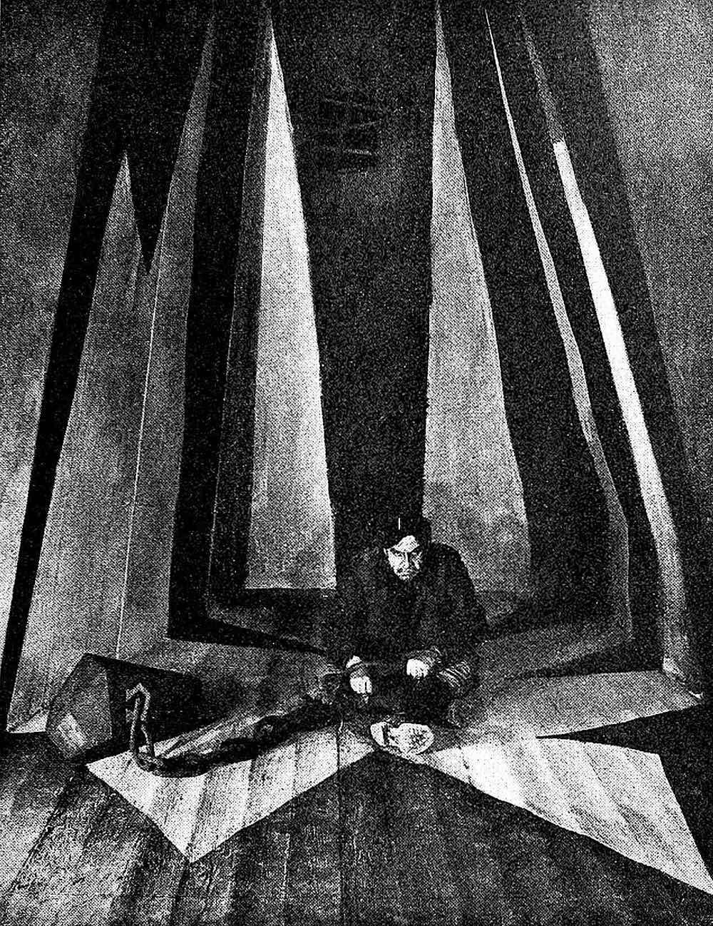 a 1922 theatre stage design of a man in prison