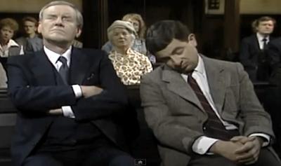 Mr Bean sleeping