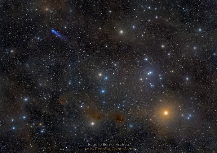 Sao chổi xanh lam trong Cụm sao Hyades. Hình ảnh: Rogelio Bernal Andreo (Deep Sky Colors).