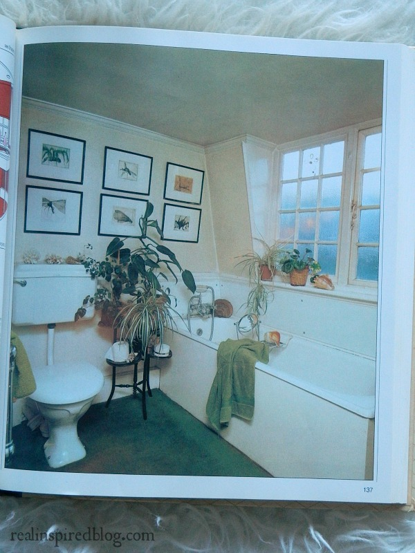 A humorous look back at decorating styles from the 1980's using Mary Gialliatt's, The Decorating Book, as the source material.  A bathroom with green carpet. Lovely.
