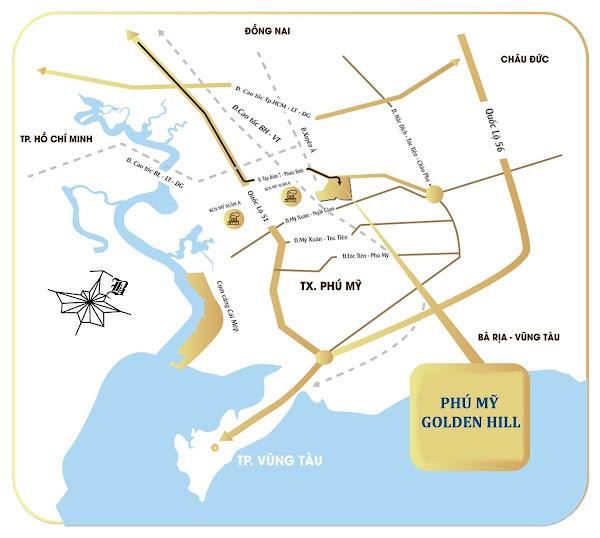 bản đồ vị trí dự án Phú mỹ Golden Hill Bà Rịa - Vũng Tàu