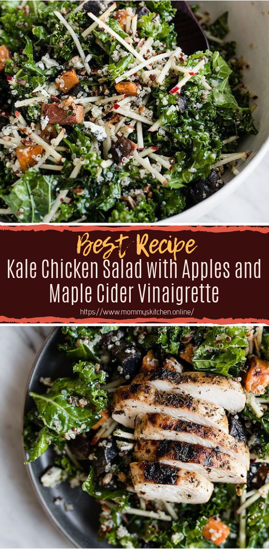 Kale Chicken Salad with Apples and Maple Cider Vinaigrette #vegan #recipevegetarian