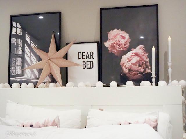 taulu juliste posterstore blogiyhteistyö boheemi joulu makuuhuone sisustus alekoodi