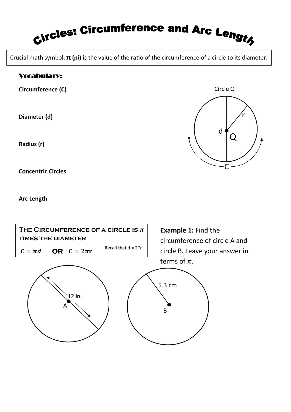 Geometry Chapter 5 7 Circles Circumference And Arc Length
