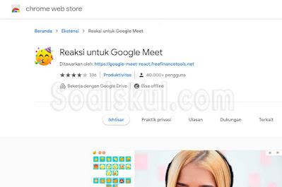 Ekstensi Chrome Reactions for Google Meet