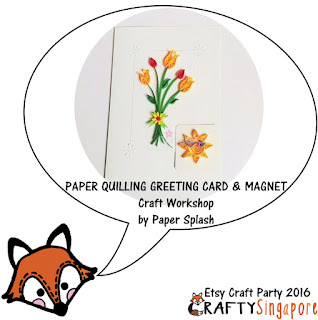 Source: Crafty Singapore. Quilled flowers on a card together with a sun-shaped fridge magnet.