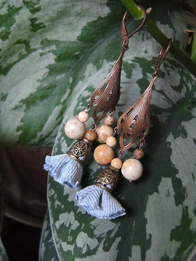 DIY oorbellen/earrings 'miss Denim'
