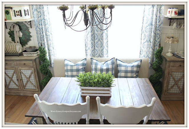 Buffalo Check-Blue & White Decor- DIY-Planked Dining Table-Breakfast Nook Makeover-From My Front Porch To Yours