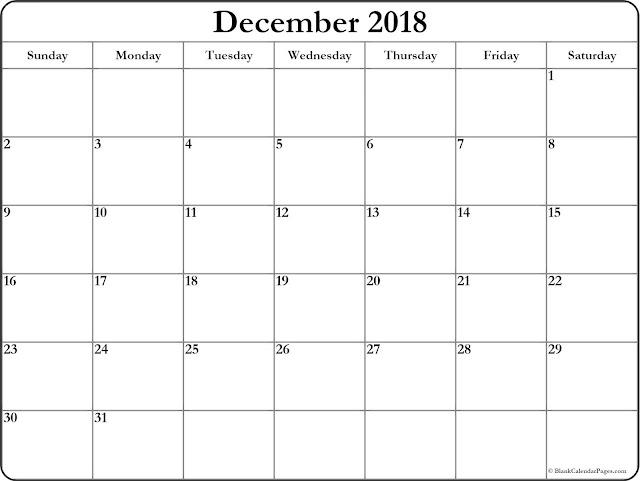 December 2018 Editable Calendar