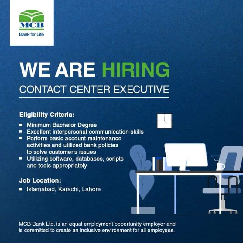 MCB Bank Ltd Jobs-CONTACT CENTER EXECUTIVE For All Cities