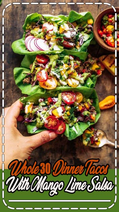 Crowd pleaser dinner: whole30 lettuce tacos with mango salsa! Swap the tortilla for a healthy crisp lettuce leaf and you have yourself a drool-worthy dinner, complete with mango avocado lime salsa. An easy paleo meal for family dinners, meal prep, or on-the-go!