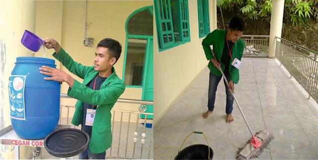 Mahasiswa KKN Unimal Kelompok P126 Membersihkan Masjid Desa Gumpang Pekan dan Mengaktifkan Kembali Tampat Pencucian Tangan