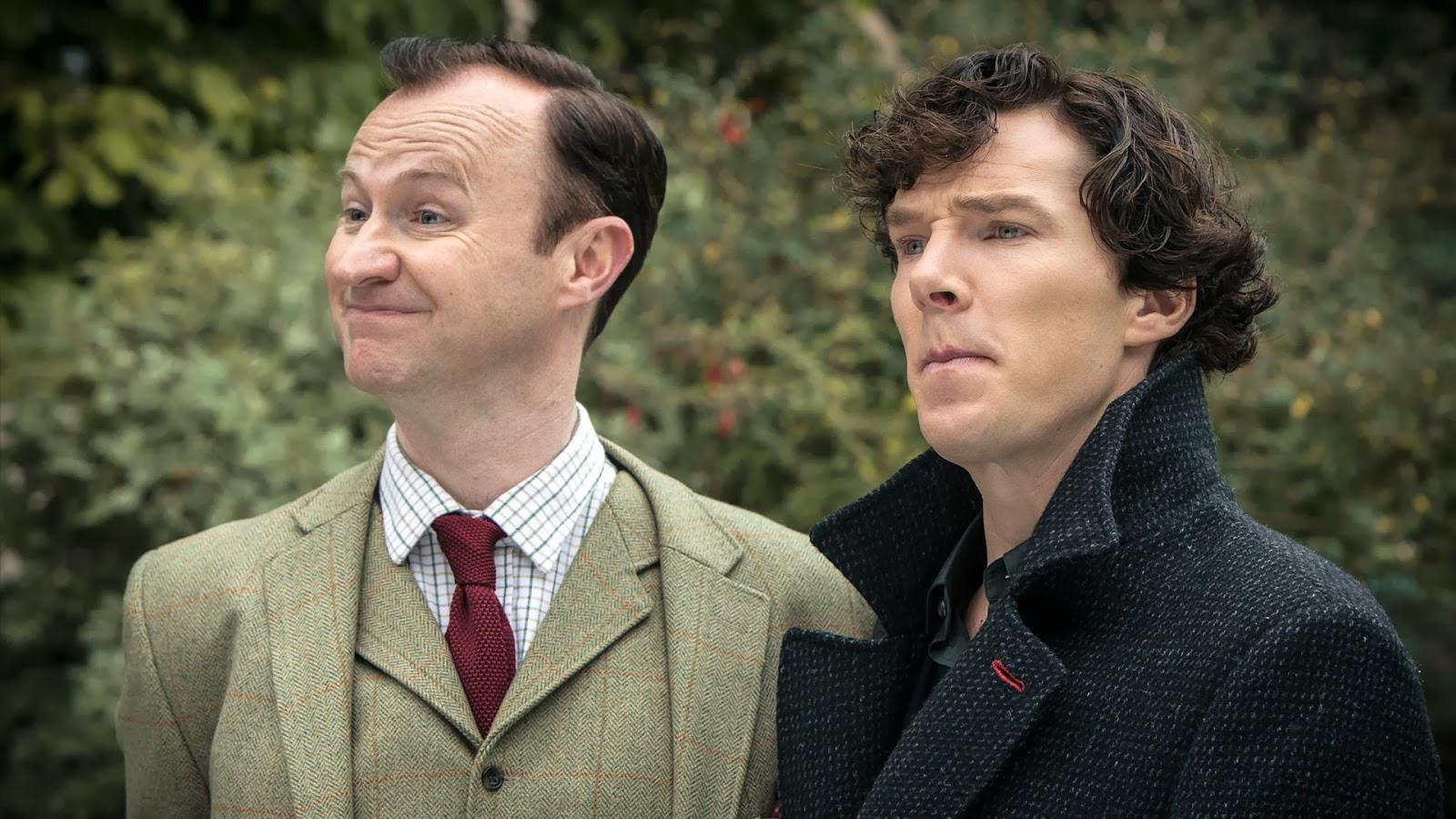 Benedict Cumberbatch and Mark Gatiss as Sherlock and Mycroft Holmes in BBC Sherlock Season 3 Episode 3 His Last Vow