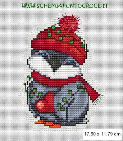 Piccolo pinguino  natalizio - schema punto croce free