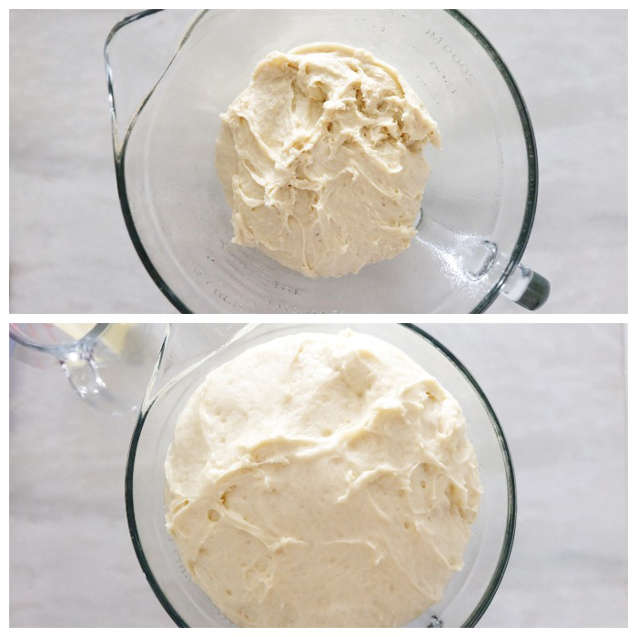 dough before and after rise