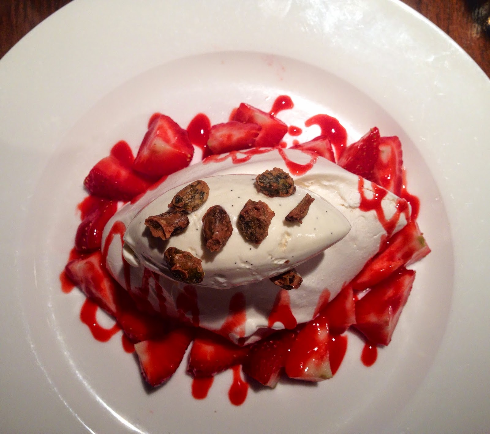 meringue with Chantilly cream, strawberries and toasted pistachios