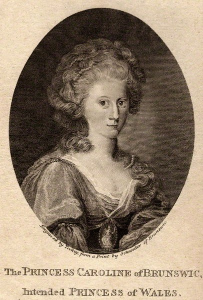 Caroline of Brunswick by James Tookey, after Friedrich Schroeder, 1795