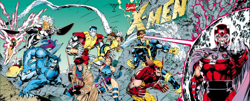 Quadruple width gatefold cover showing 12 X-Men in battle with Magneto
