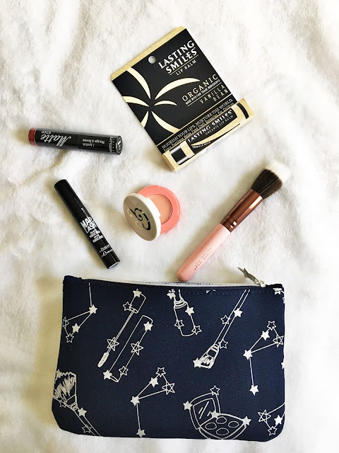 November Ipsy GlamBag Last Smiles Vanilla Lip Balm Luxie Rose Gold Duo Fiber Brush Absolute New York Matte Lipstick in Dark Red the balm Mad Lash Bascara Laqa & Co B'Lighter Peacher's Daughter