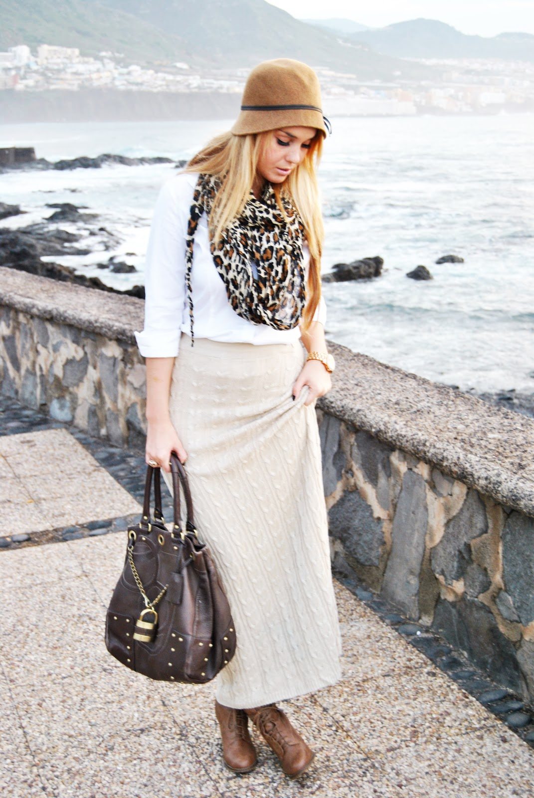 maxi skirt, hat, nery hdez, print animal , estampado leopardo