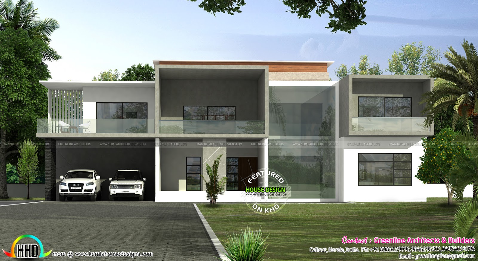 Box model luxury home 4775 sq ft kerala home design and for Modern box type house design