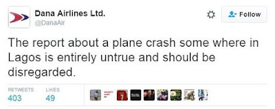 DANA airline plane crash: DANA denies and clears rumours of plane crash.