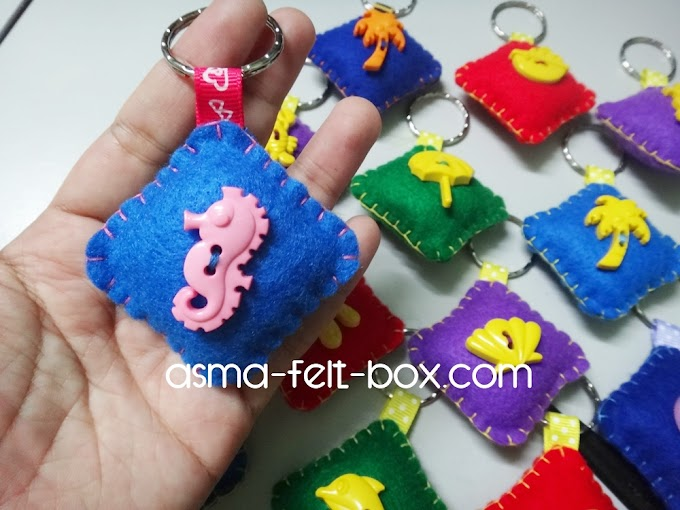 Cute Felt Button MArine Keychain