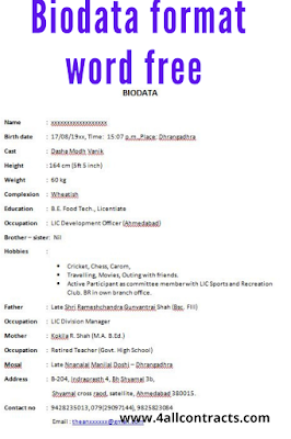 Biodata format word free download