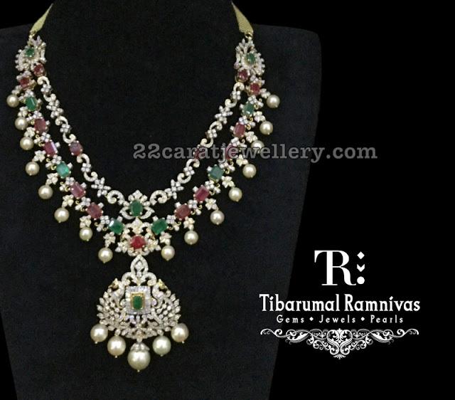 Diamond Emerald Regal Necklace by Tibarumal