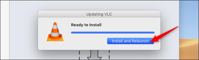 أعد تشغيل VLC بعد الترقية على جهاز Mac
