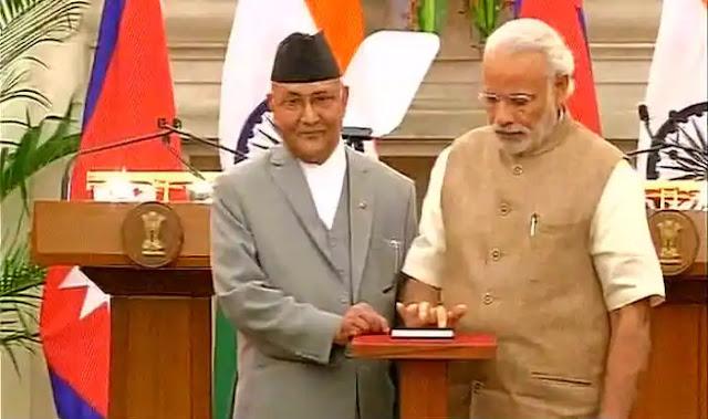 Nepal Prime Minister KP Sharma Oli with Pm Narendra Modi