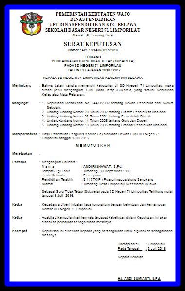 Download Contoh SK Kepala Sekolah Untuk Guru Honorer