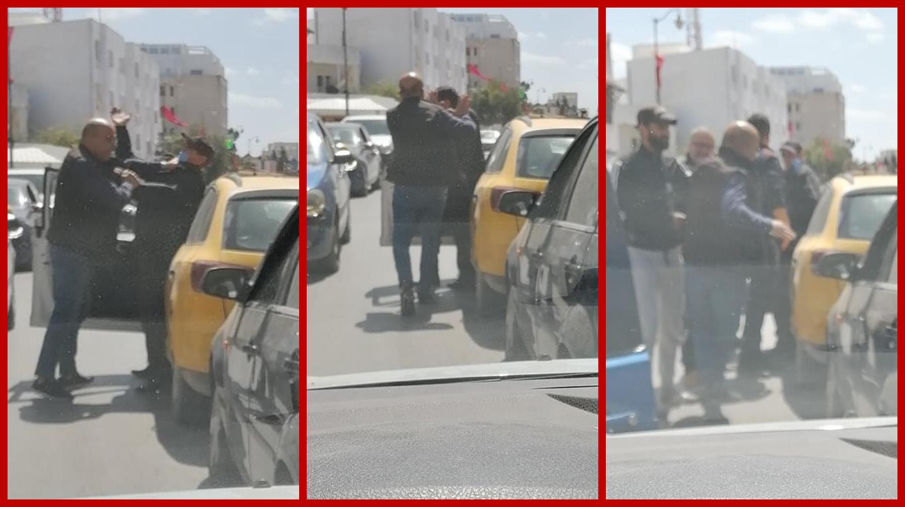 بالصور: تشابك و ضرب و مضروب بين رجلين في الطريق العام في أول أيام رمضان