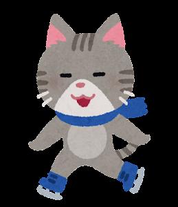 アイススケートをする動物のキャラクター(猫)