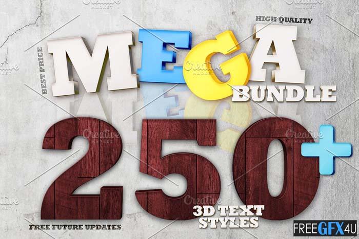 Mega Bundle 250+ 3D Text Styles