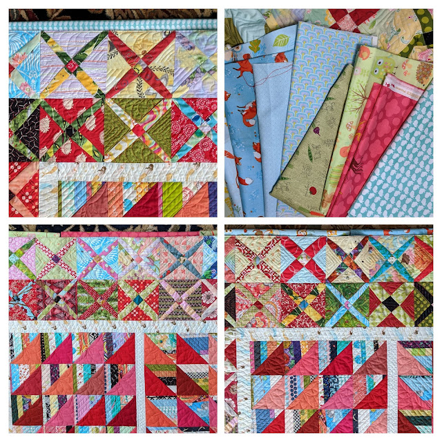 Photo collage of fabric choices for binding The Square Deal: pink, blue, green prints