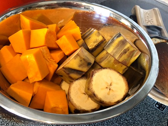 Vegan Lentil Stew Recipe diced calabaza and plaintains