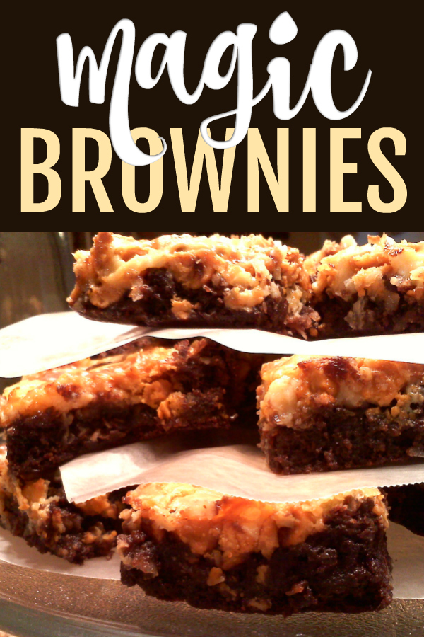 Magic Brownies! The brownie version of Magic Cookie Bars, these bars are topped with butterscotch morsels, coconut, pecans and sweetened condensed milk to create a caramelized gooey topping that's pure MAGIC!