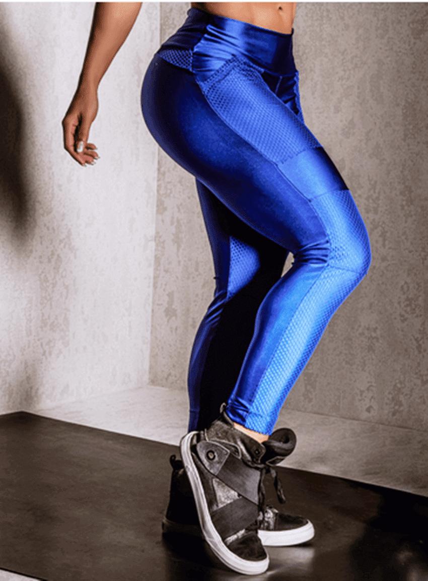 Calça Fitness Azul Bic com Bolsos