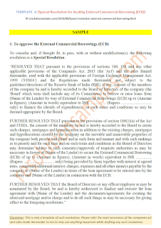 special resolution for availing external commercial borrowing