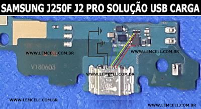 Samsung Galaxy J250F J2 Pro Solução de Carga USB Jumper - Não carrega       Samsung Galaxy J250F J2 Pro USB Charging Solution Ways