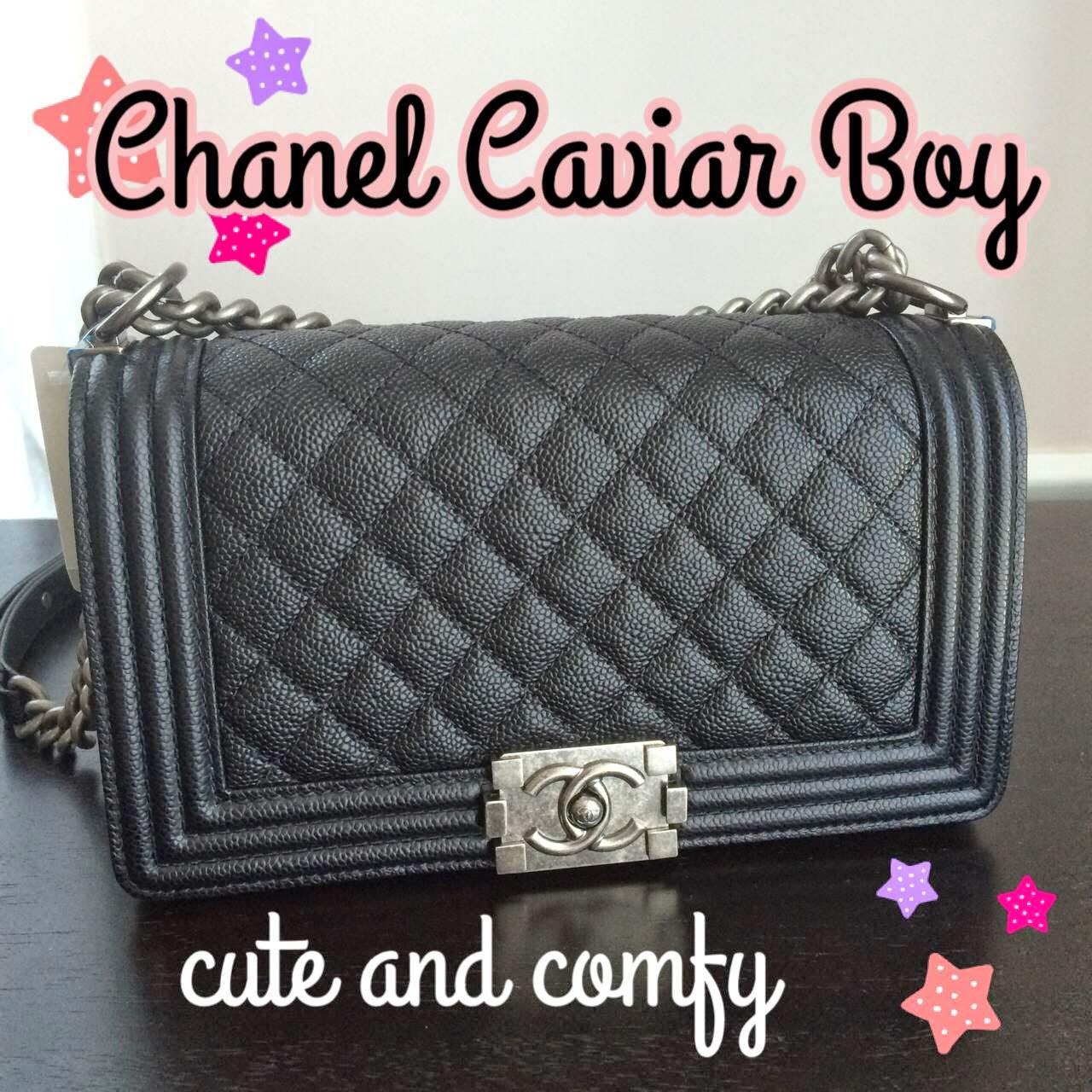b0e900b3a2a7 cute and comfy  Chanel Old Medium Quilted Caviar Boy Bag 14B
