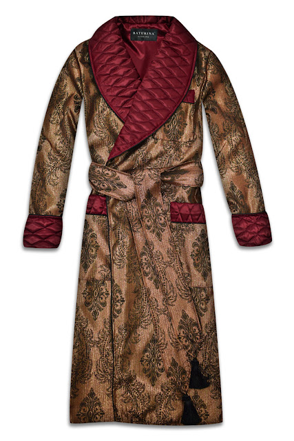 mens gold burgundy silk dressing gown quilted smoking jacket robe