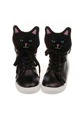 Attitude Clothing Black Kitty High Top Sneakers